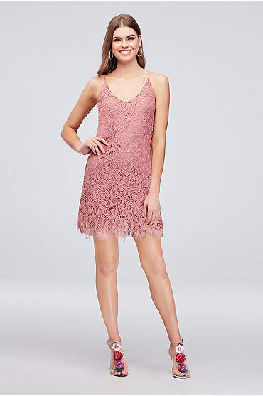 Short Daisy Lace Sheath with Spaghetti Straps