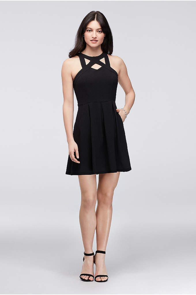 Cutout Neck Short Crepe Dress with Pleats