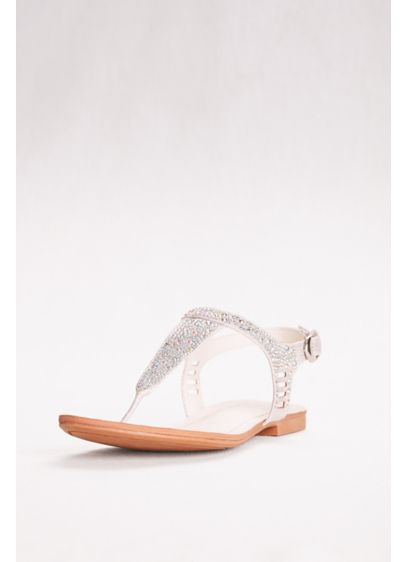 David's Bridal Grey (Embellished Glitter T-Strap Sandals)
