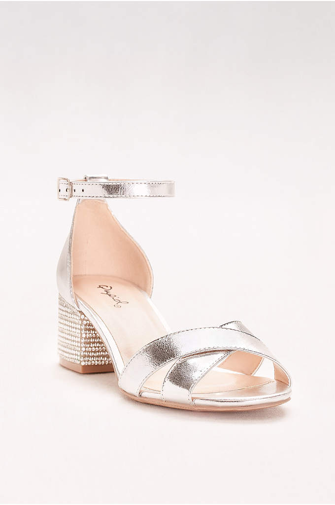 Crystal-Studded Block-Heel Sandals - Low block heels, studded with dazzling crystals, make