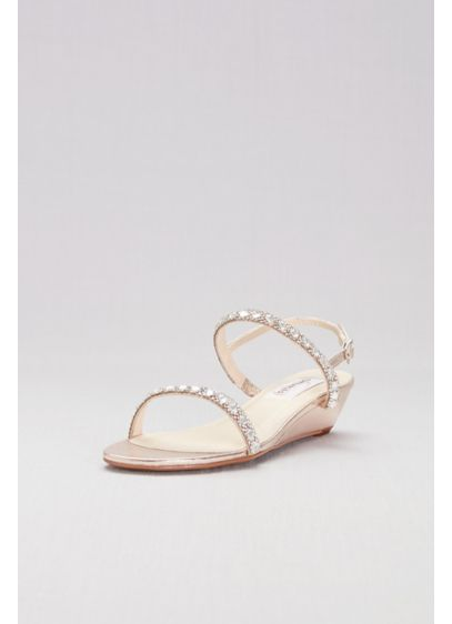 Dyeables Ivory (Crystal-Embellished Metallic Low Wedge Sandals)