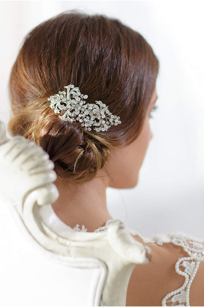 Crystal Filigree Hand-Wired Hair Comb - This vintage-inspired filigree comb is topped with clusters