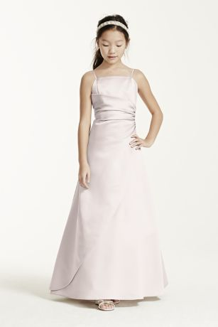 Long Satin Ball Gown with Side Ruching - This long satin ball gown has a overlay