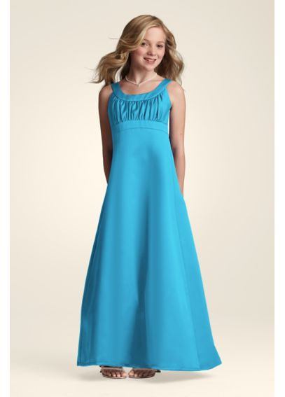 Long Satin Dress with Pleating at Bust JB3555