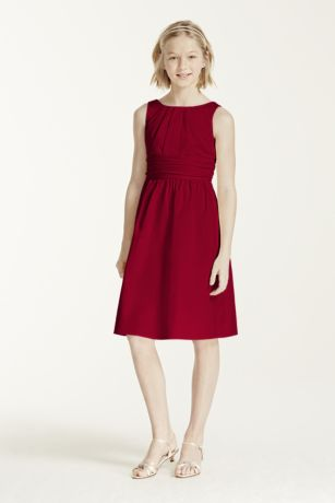 Short Cotton Dress with Ruching Detail - This short cotton dress is sweet and simple