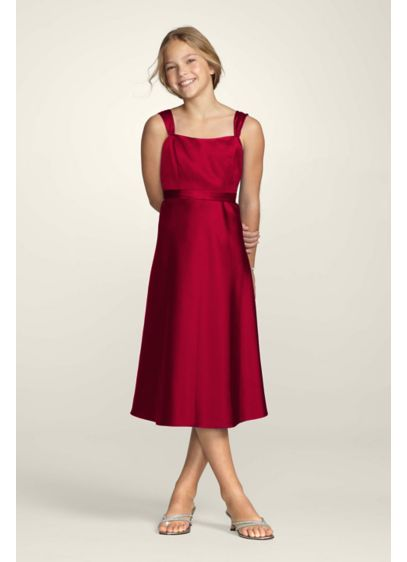 Tea Length Red Structured David's Bridal Bridesmaid Dress