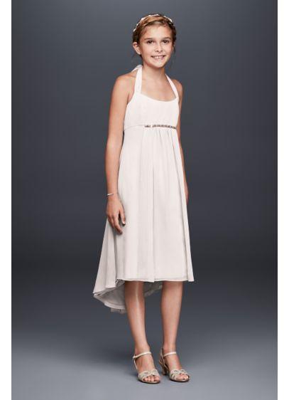 High Low Yellow Soft & Flowy David's Bridal Bridesmaid Dress