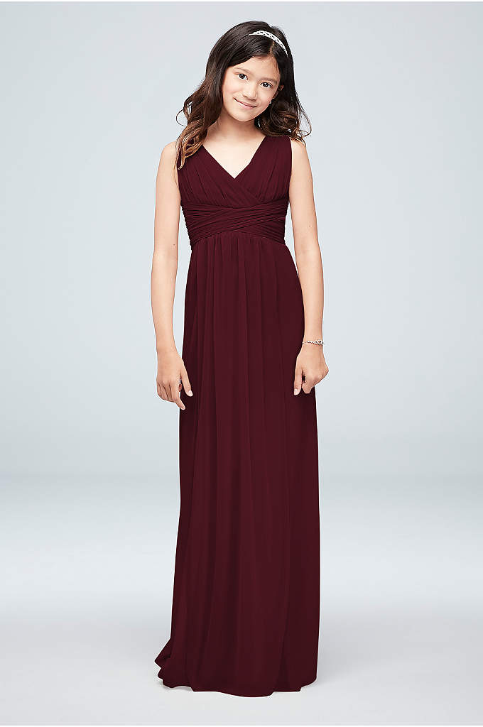 Long Sleeveless Mesh Dress with Ruched Waist - Comfortable, stylish and chic, your junior bridesmaids will