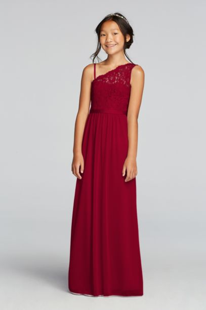 One Shoulder Long Lace Bodice Dress | David's Bridal