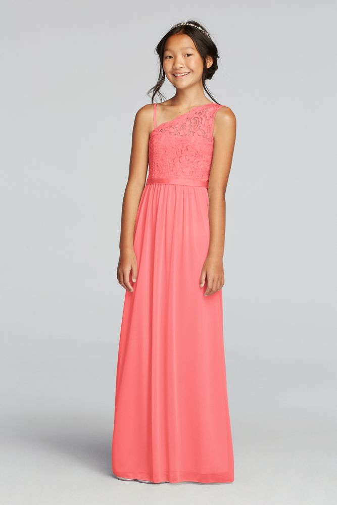 One Shoulder Long Lace Bodice Dress Style Jb9014 Ebay