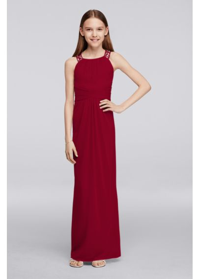 Long Junior Bridesmaid Dress with Beaded Neckline JB9289