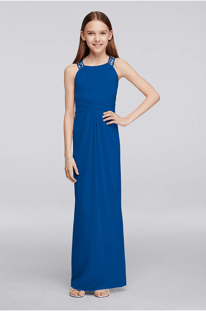 Long Junior Bridesmaid Dress with Beaded Neckline - Your junior bridesmaids will love wearing this elegant