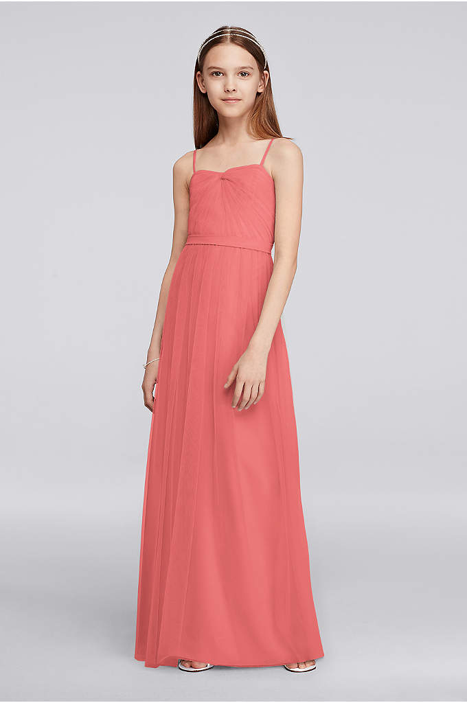 Long Tulle Junior Bridesmaid Dress with Pleating - Pretty pleating makes the bodice of this spaghetti