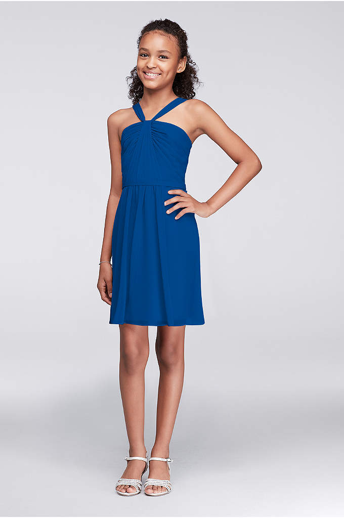 Pleated Chiffon Y-Neck Girls Dress - A lovely style for junior 'maids, this short