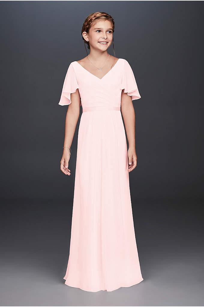 Flutter Crinkle Chiffon Junior Bridesmaid Dress - Flowy flutter sleeves and a crisscross back provide
