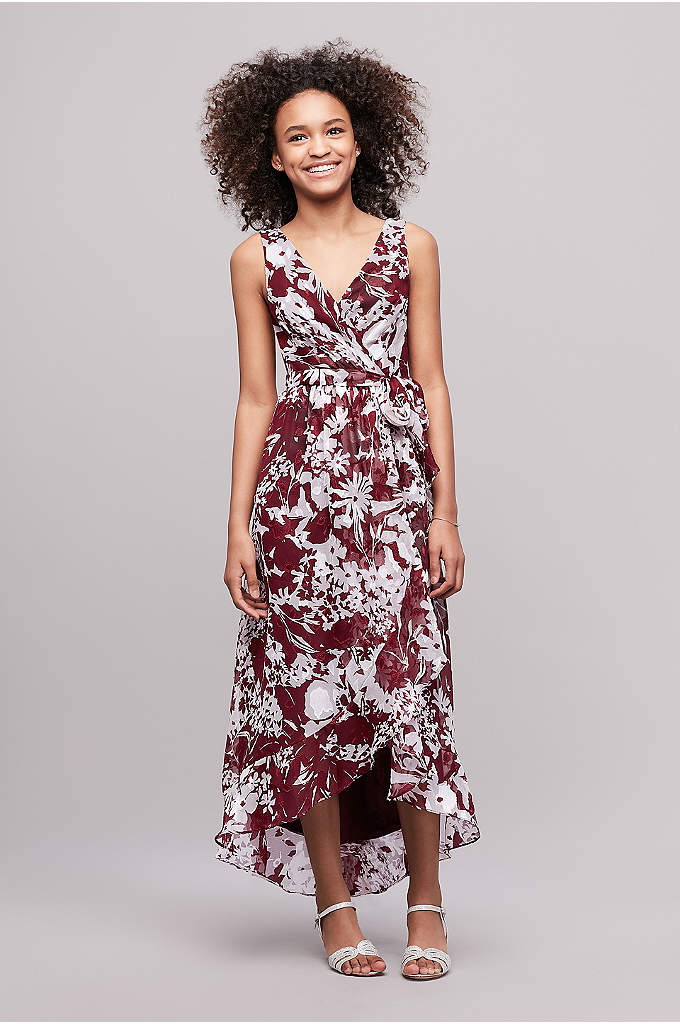 Printed Chiffon Faux-Wrap Junior Bridesmaid Dress - This printed crinkle chiffon junior bridesmaid dress has