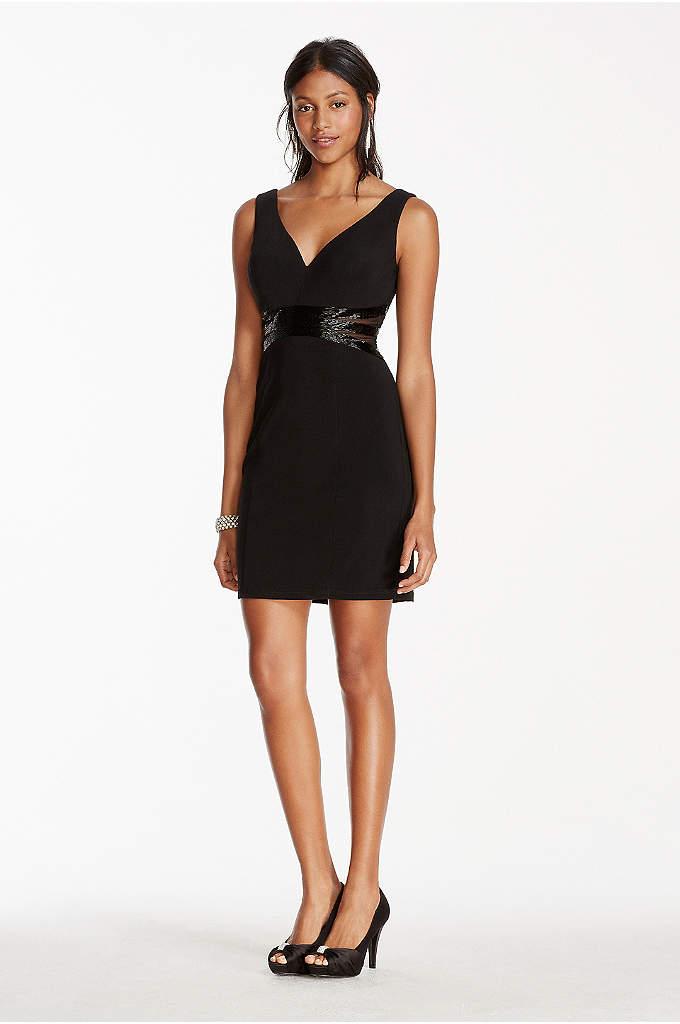 Deep V-Plunge Short Jersey Dress with Beaded Waist