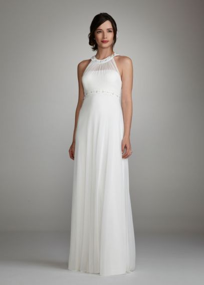 Beaded Halter Dress with Sequin and Stone Neckline JH1M4428