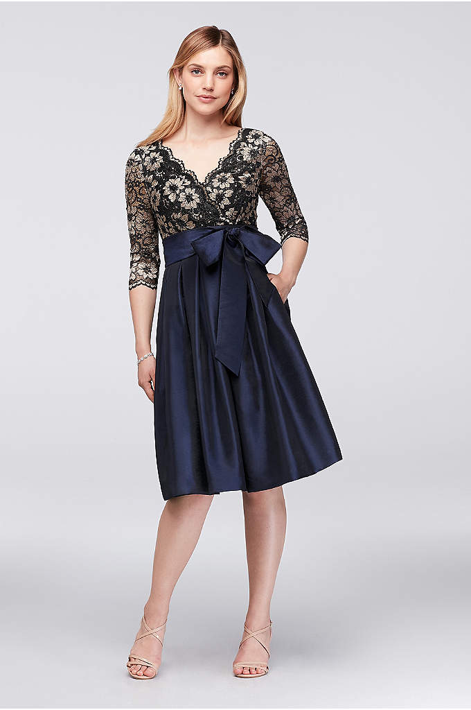 Floral Lace and Shantung Fit-and-Flare Dress - A regal look for the mother of the