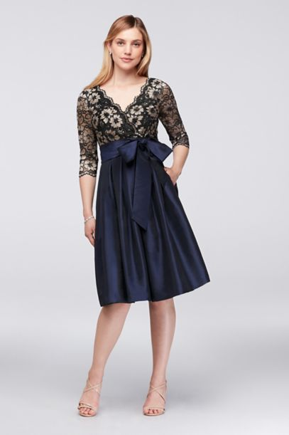 Floral Lace and Shantung Fit-and-Flare Dress | David's Bridal