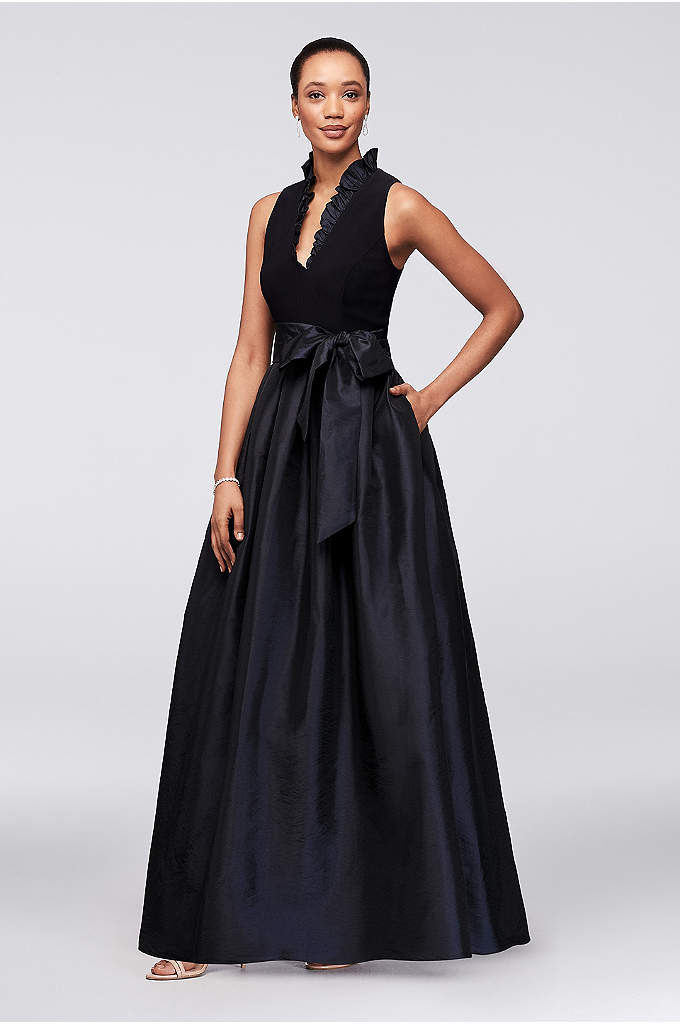 Sleeveless Taffeta Ball Gown with Ruffled V-Neck - A ruffled stand-up collar and structured taffeta skirt