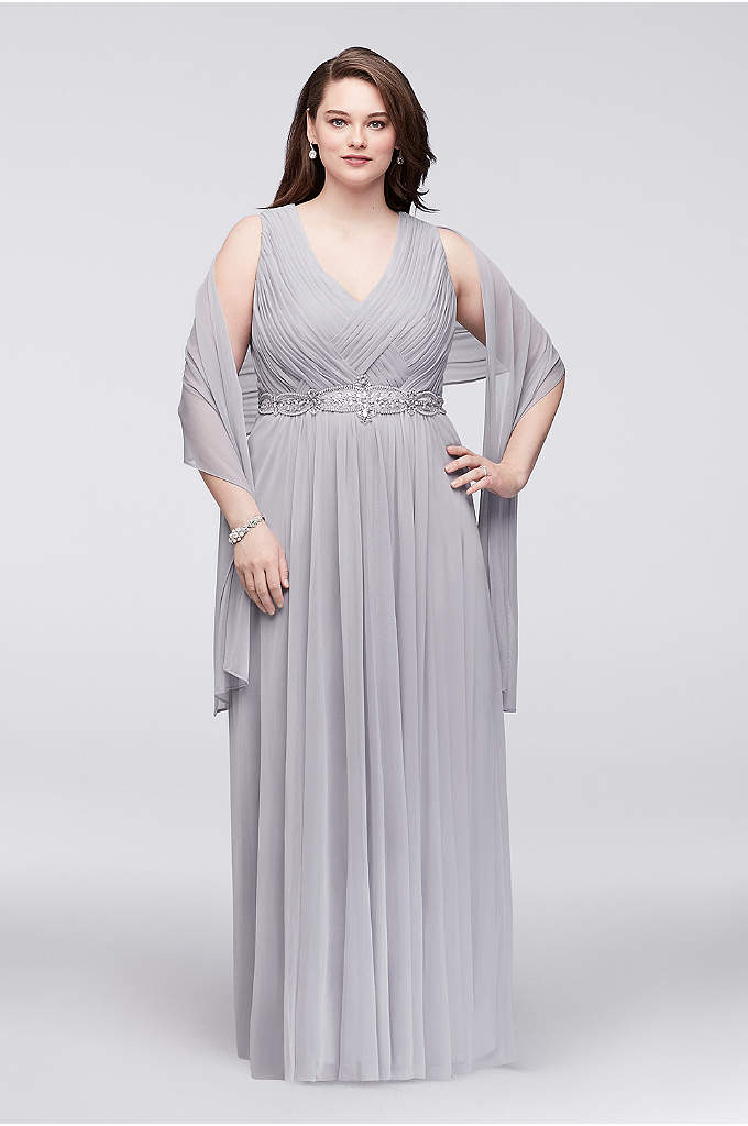 Woven-Bodice Chiffon Plus Size Gown with Beading - Pleated and woven chiffon forms the figure-flattering bodice