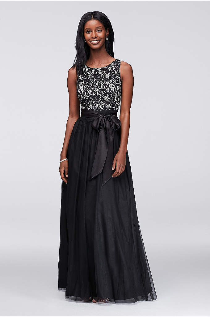 Sequin Lace and Tulle Ball Gown with Satin - A classic choice for evening events, this tulle-skirted