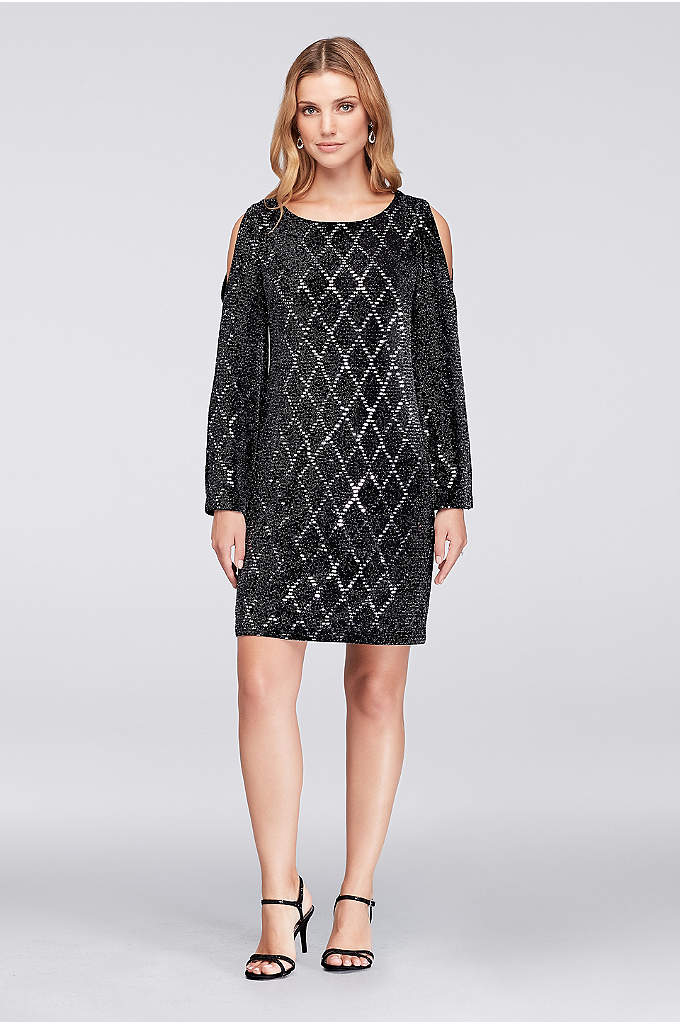 Glitter Jersey Cold-Shoulder Shift Dress - Slinky, shimmery, and fun, this glitter-dotted jersey shift