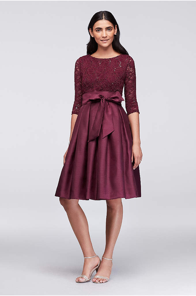 Lace and Shantung Short Ball Gown Dress - A shimmery shantung skirt, complete with a bold
