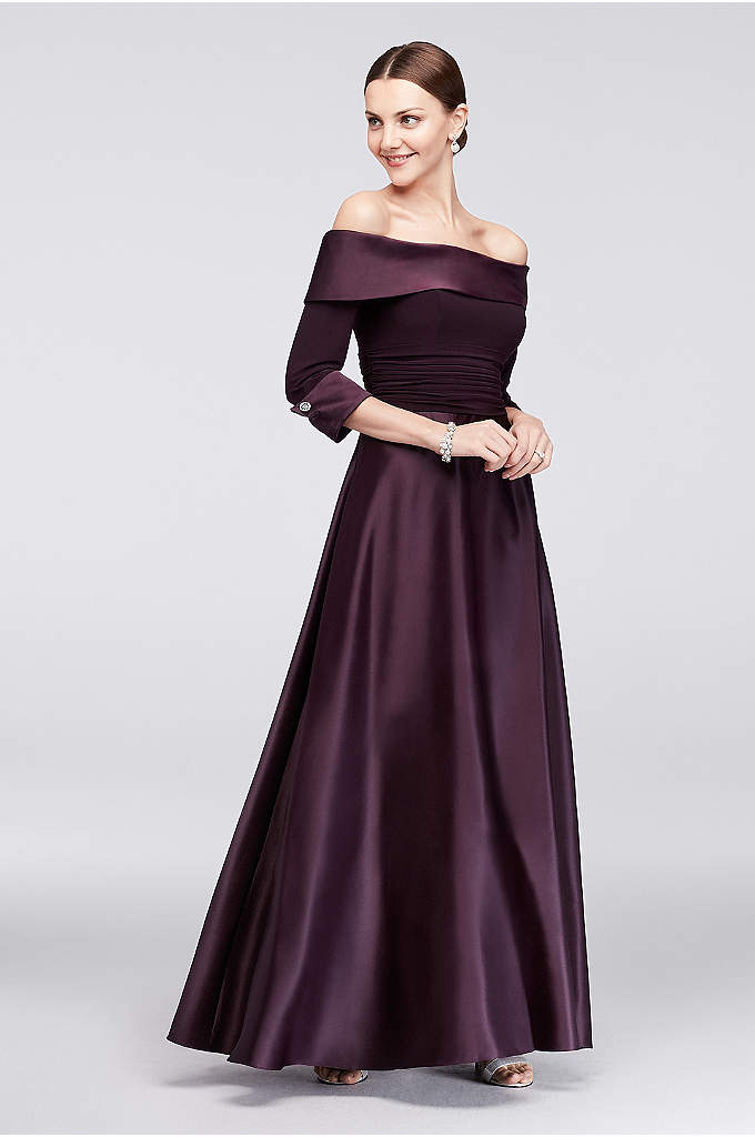 Off-The-Shoulder 3/4-Sleeve Satin Ball Gown - Lustrous satin gleams on this classic mother of
