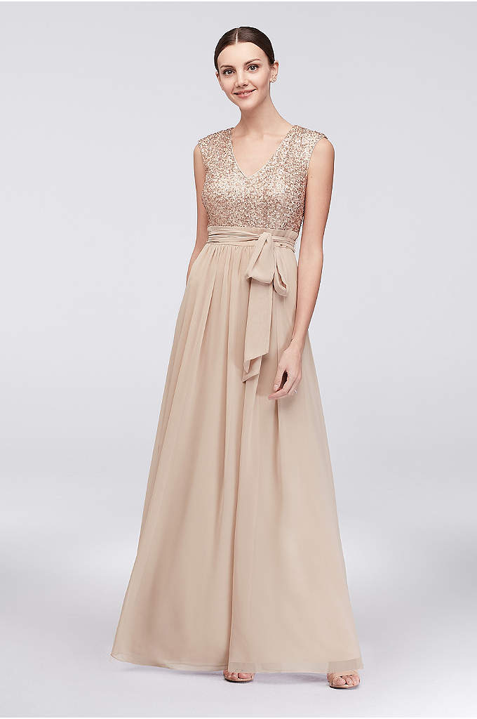Cap Sleeve Sequin and Chiffon A-Line Gown - Glittering sequins and soft chiffon are a perfect