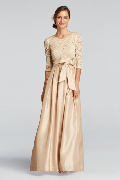 3 4 Shimmer Lace Sleeve Dress With Shantung Skirt David