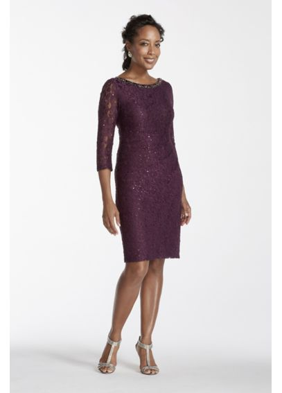 3/4 Sleeve Lace Dress with Beaded Neckline JHDM8299