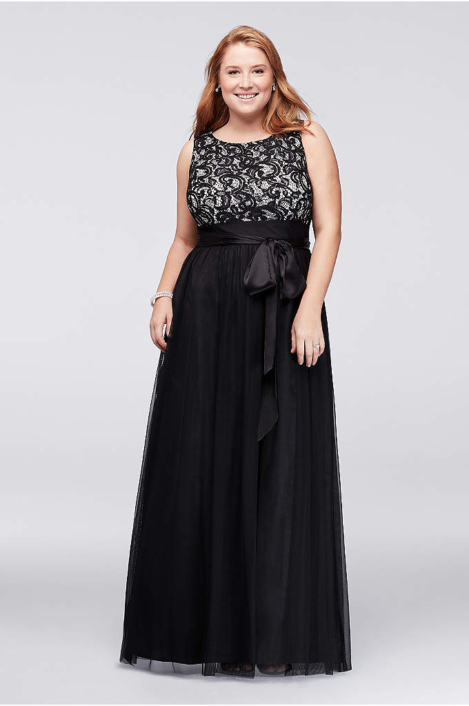 Sequin Lace and Tulle Plus Size Ball Gown - A classic choice for evening events, this tulle-skirted