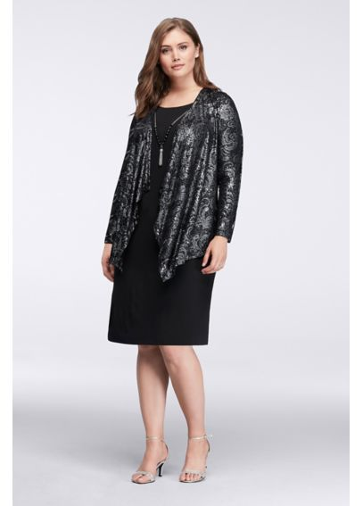 Shimmering Filigree Short Jacket Dress  JHDW1097
