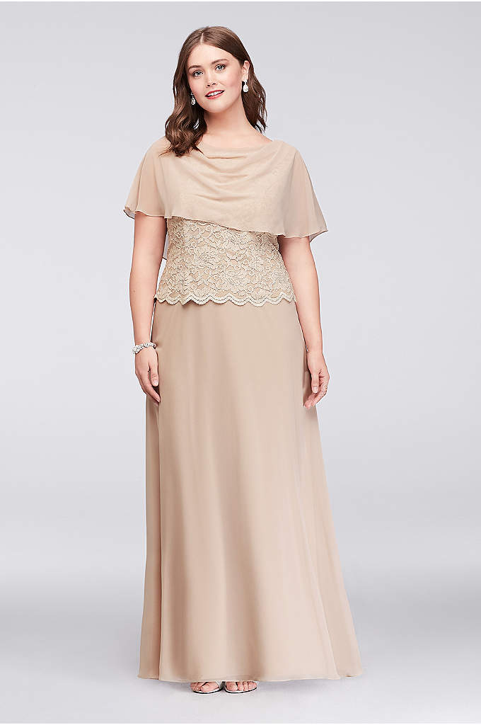 Layered Chiffon and Lace Plus Size Caplet Dress - This lovely mother of the bride plus-size dress