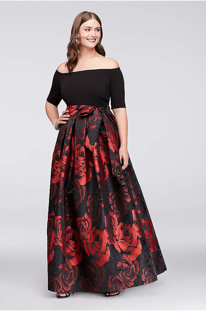 Off-The-Shoulder Jacquard Plus Size Ball Gown - This plus-size ball gown is in bloom: the