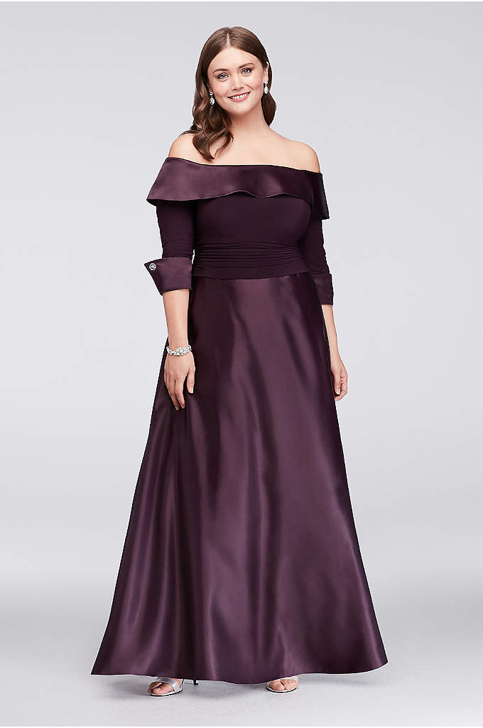 Off-The-Shoulder 3/4-Sleeve Satin Plus Size Gown - Lustrous satin gleams on this classic mother of