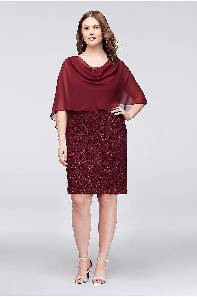 Glitter Lace Sheath Dress with Attached Capelet - A flowing chiffon capelet gracefully tops this shimmery,