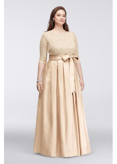Shantung Taffeta Gown with 3/4 Lace Sleeves JHDW7001
