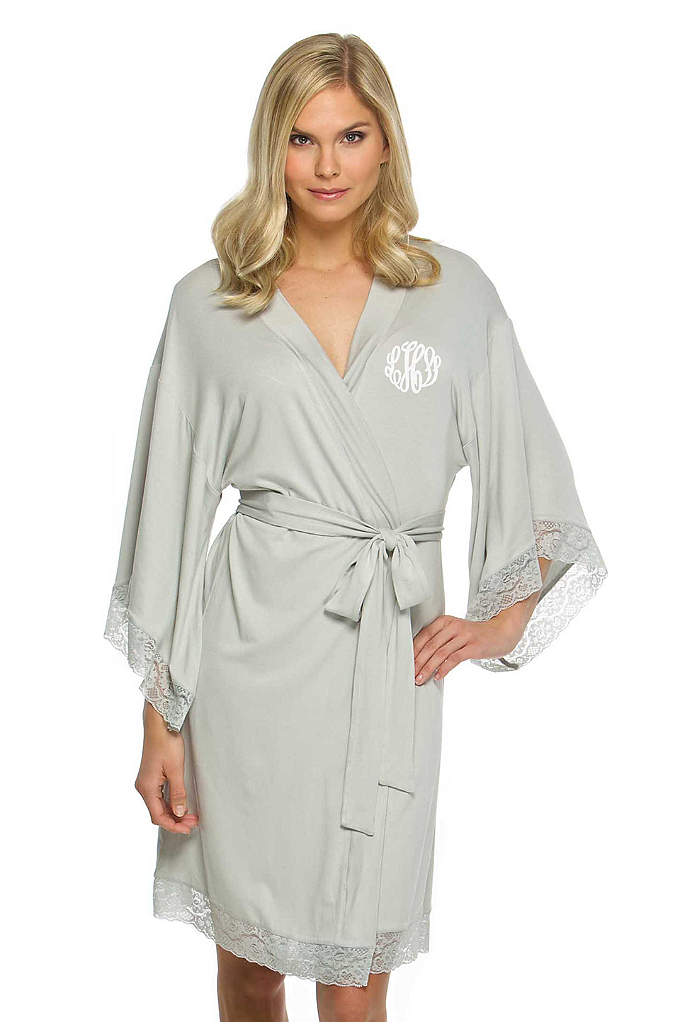 Personalized Jersey Robe with Lace - This robe is as comfortable as it is