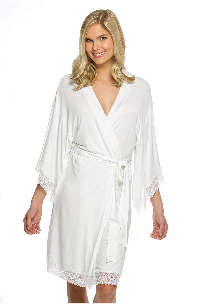 Blank Jersey Robe with Lace - This Blank Jersey Robe with Lace is as