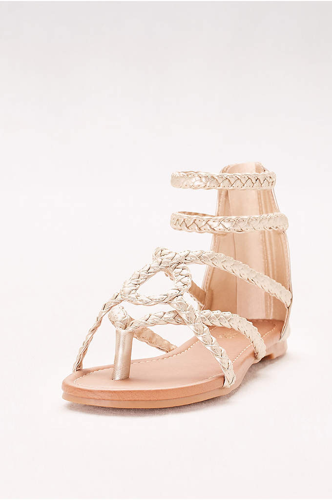Strappy Braided Gladiator Sandals - This gladiator pair's boho braids go perfectly with