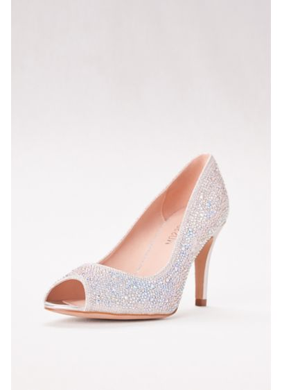 Blossom Grey (Allover Crystal Embellished Peep Toe Pumps)