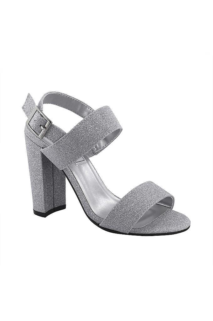 Double-Strap Glitter Block Heel Sandals - Ultra-fine glitter adds welcome glitz to simple block-heel