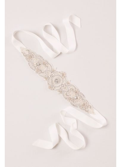 Crochet Lace and Pearl Sash - Wedding Accessories