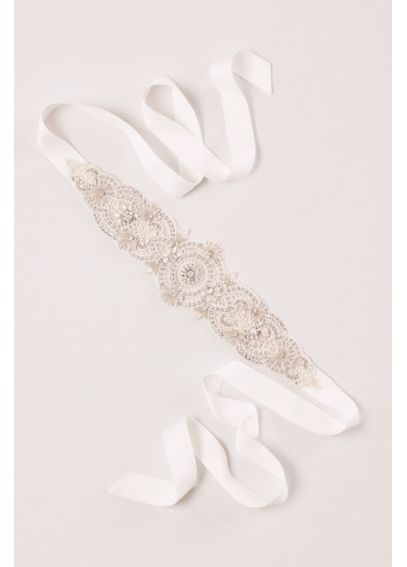 Crochet Lace and Pearl Sash JP11SASH11
