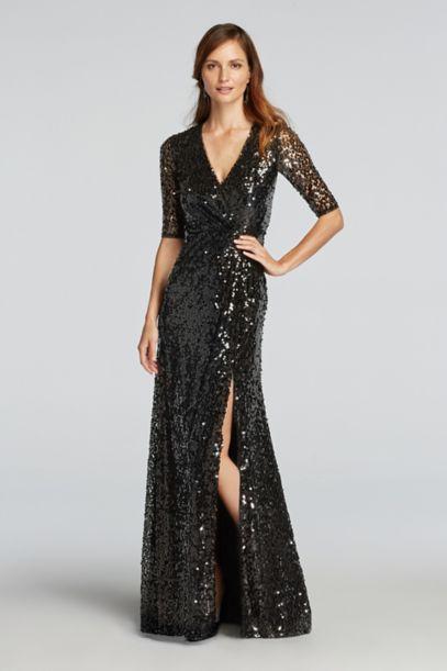V-Neck All Over Sequin Dress with Sleeves - Davids Bridal