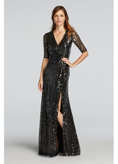 V-Neck All Over Sequin Dress with Sleeves  JP281636