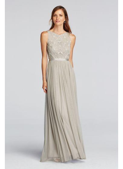 Long Grey Soft & Flowy Wonder by Jenny Packham Bridesmaid Dress
